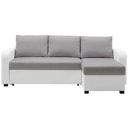 Wohnlandschaft in Grau/Weiß mit Bettfunktion - Schwarz/Weiß, KONVENTIONELL, Kunststoff/Textil (225/152cm) - Modern Living