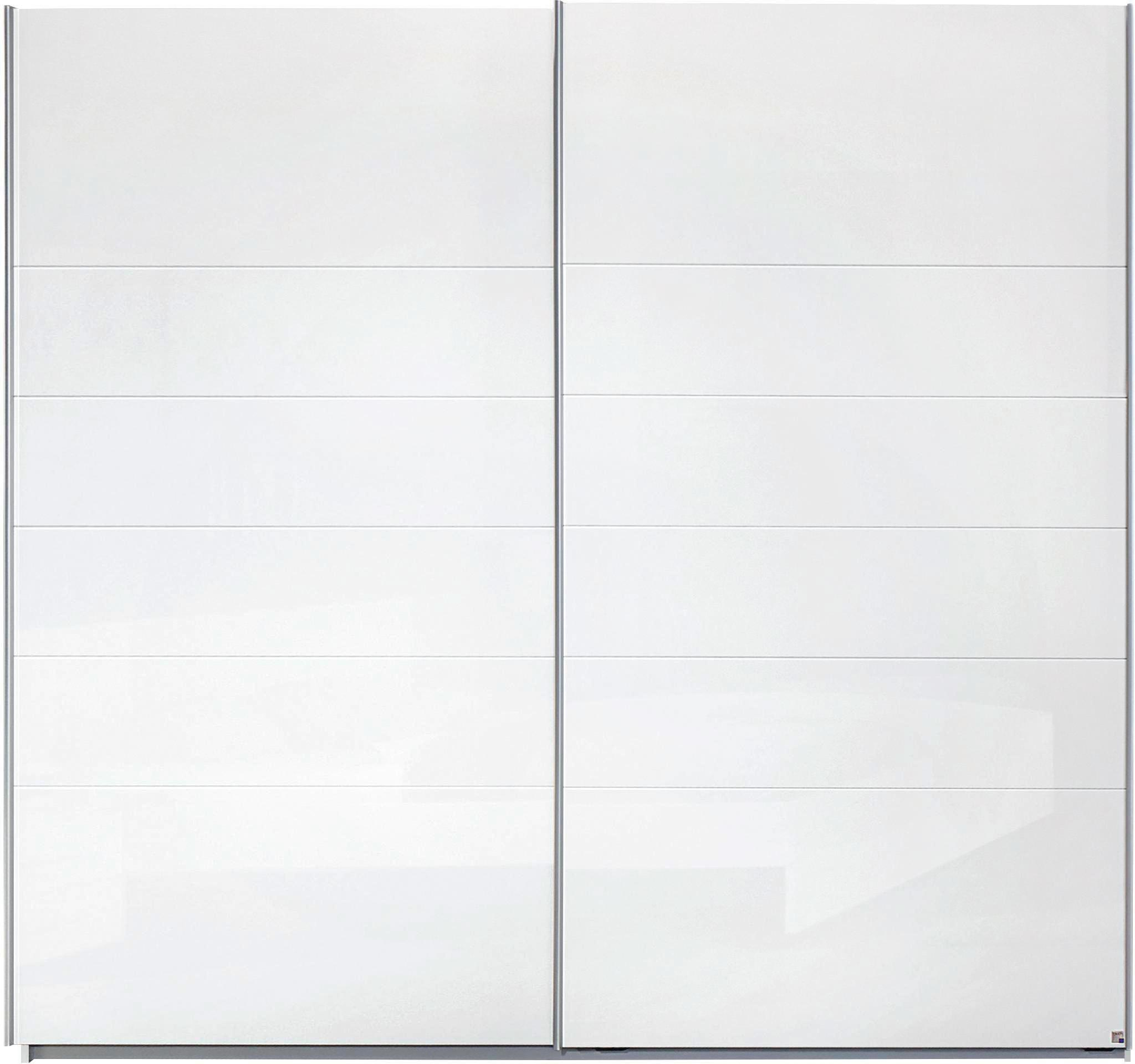 Schwebetürenschrank in Weiß, 2-türig - Alufarben, MODERN, Holzwerkstoff/Metall (225/210/62cm) - MODERN LIVING