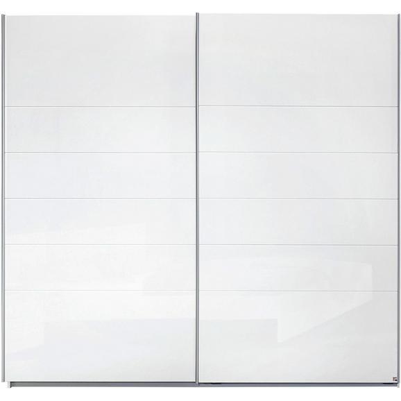 Schwebetürenschrank in Weiß Hochglanz - Alufarben, MODERN, Holzwerkstoff/Metall (225/210/62cm) - Modern Living