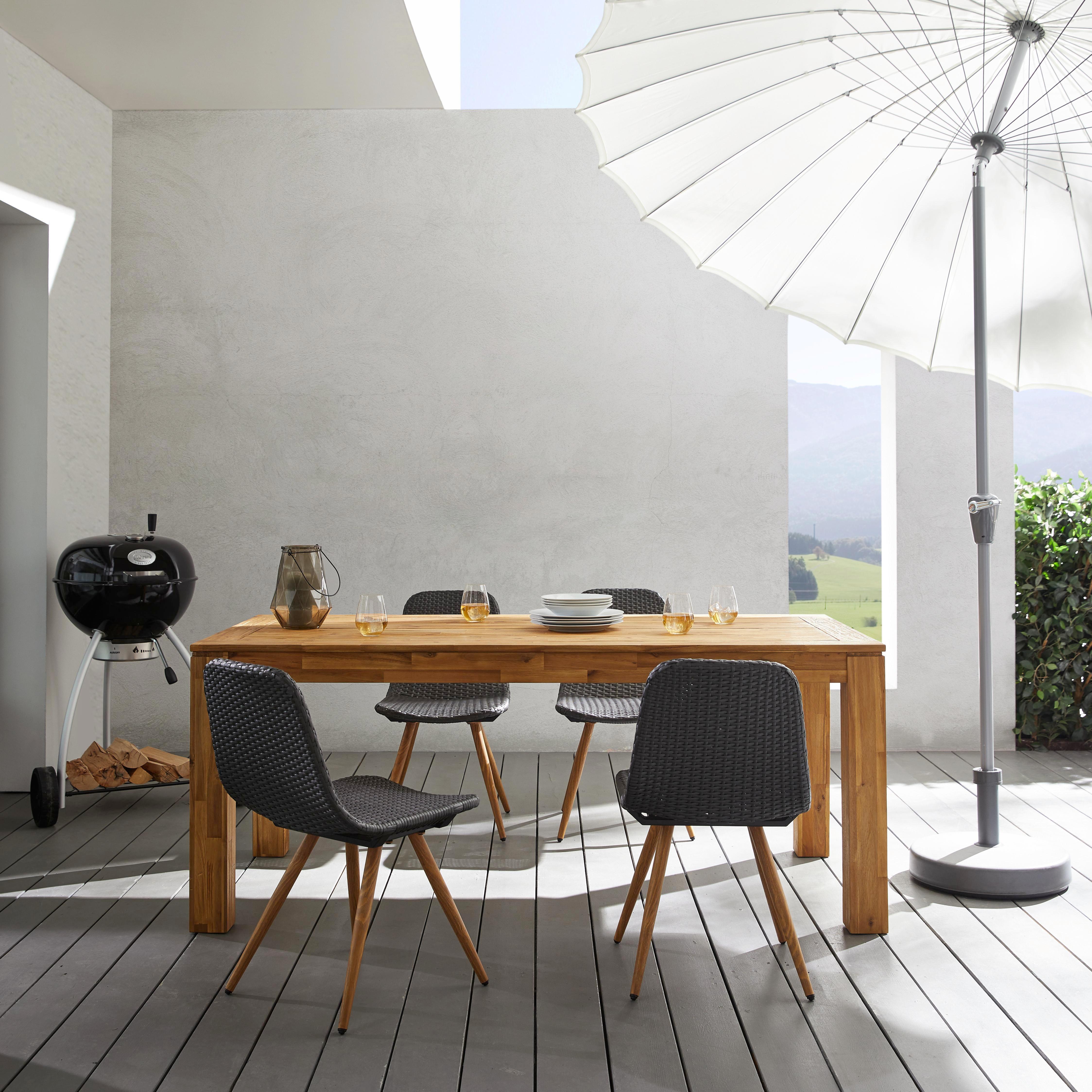 Sonnenschirm Asia - Alufarben/Weiß, KONVENTIONELL, Metall (270/240/270cm) - MÖMAX modern living