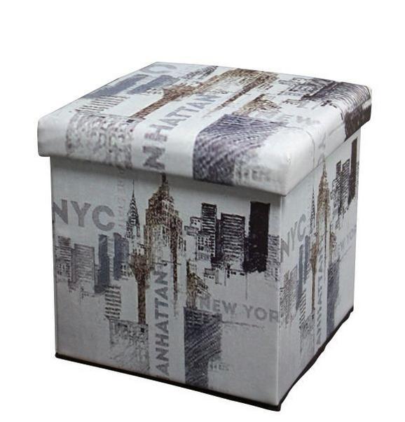 Zložljiv Tabure Nyc - večbarvno, Moderno, leseni material/tekstil (36/36/36cm) - Mömax modern living