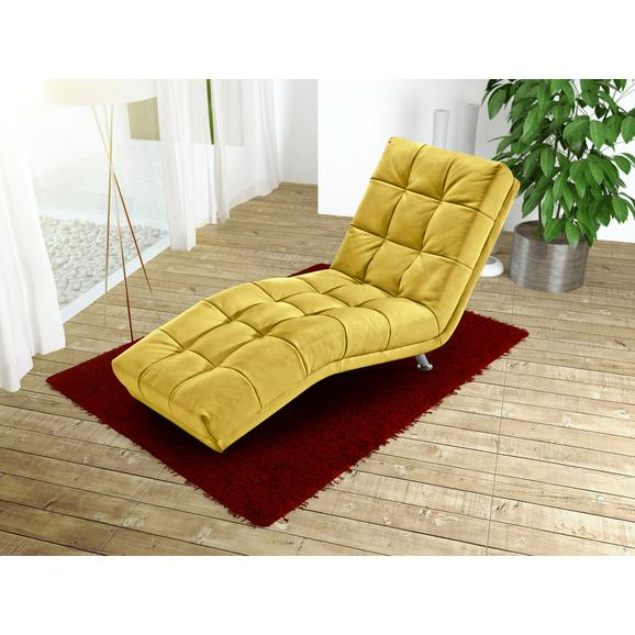 Şezlong Isabella - galben închis/culoare crom, Modern, metal/textil (68/88/164cm)