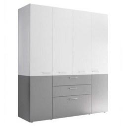 Kombischrank in Grau/Weiß - Silberfarben/Weiß, KONVENTIONELL, Holzwerkstoff/Metall (163/196,4/57,6cm) - Modern Living