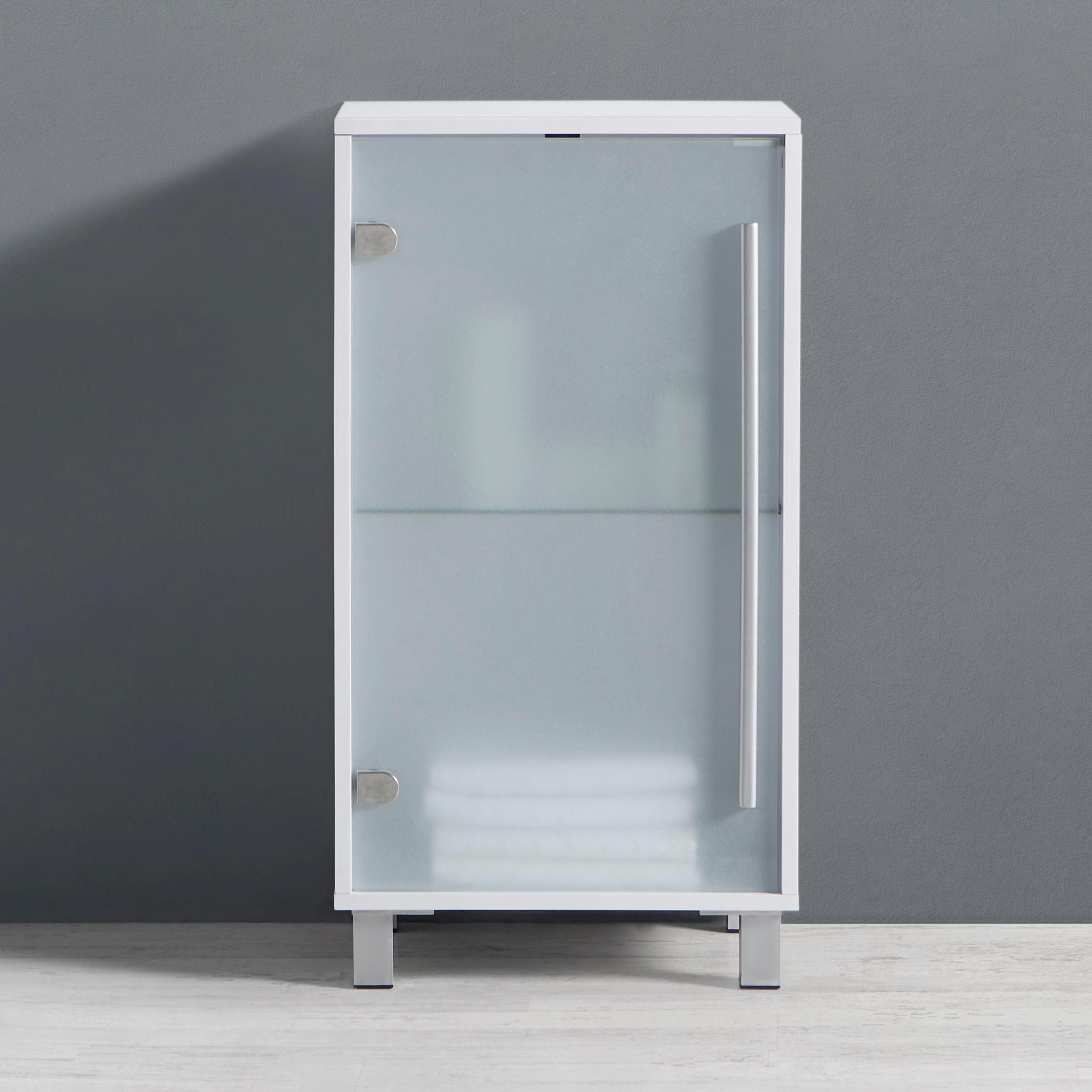 Badezimmerschrank Basic   Weiß, MODERN, Glas/Holz (44/84/35cm