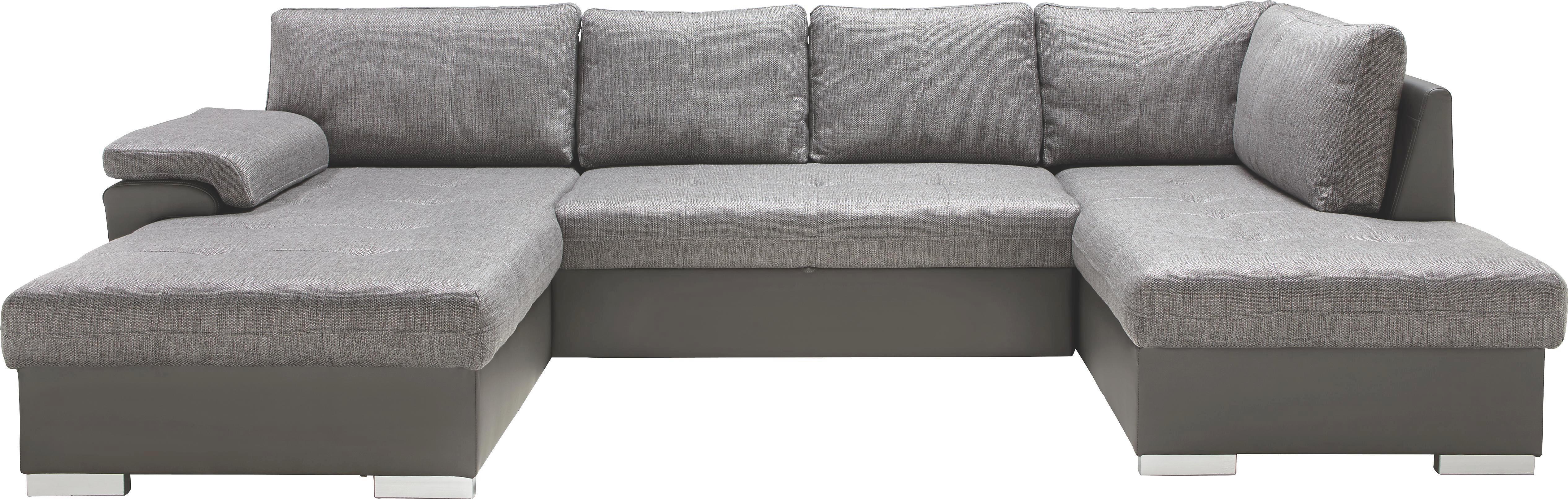 WOHNLANDSCHAFT Grau mit Bettfunktion - Silberfarben/Hellgrau, KONVENTIONELL, Karton/Holz (188/327/173cm) - MODERN LIVING