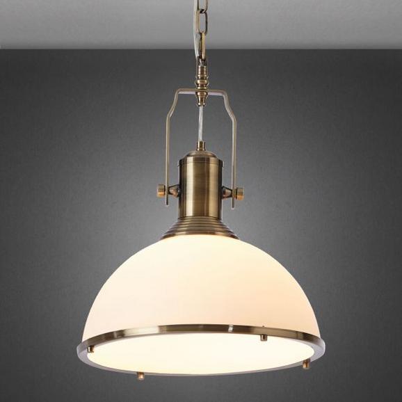Hängeleuchte Belinda - Bronzefarben/Weiß, Glas/Metall (33/33/160cm) - Mömax modern living