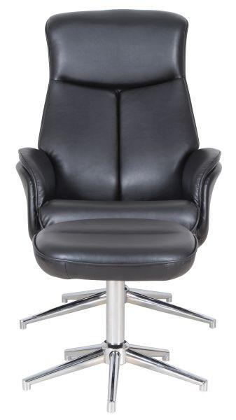 Relaxsessel in Schwarz inkl. Hocker - Chromfarben/Schwarz, KONVENTIONELL, Kunststoff/Textil (71/92-104/72,5-106cm) - PREMIUM LIVING