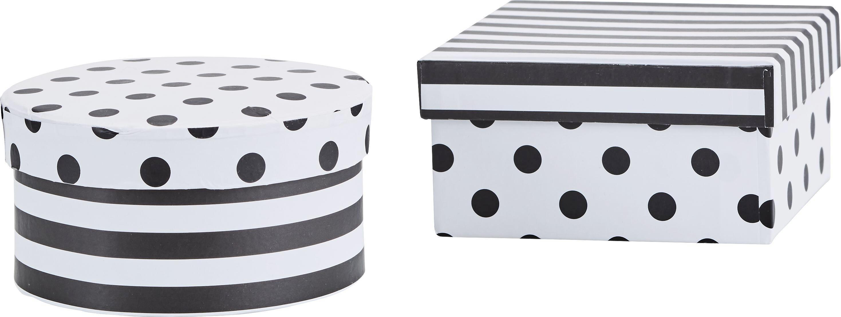 Geschenkbox Geometric in Schwarz/Weiß - Schwarz/Weiß, Papier (15/11/6,5cm) - MÖMAX modern living