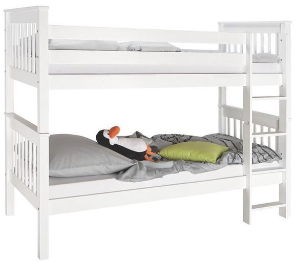 Etagenbett in Weiß, ca. 102x160x209cm - Weiß, ROMANTIK / LANDHAUS, Holz (208/160/98cm) - ZANDIARA