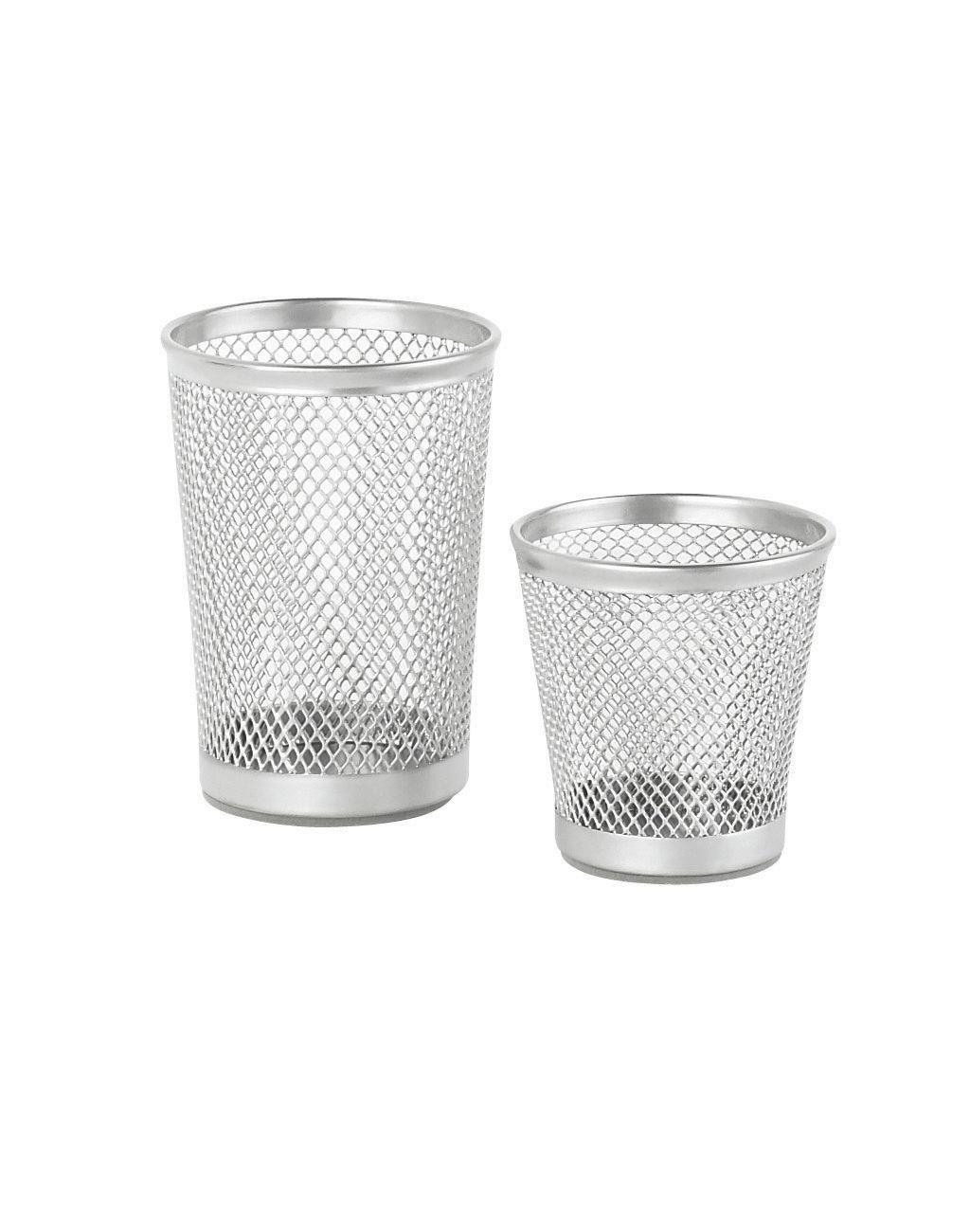 Stiftehalter Mesh in Silber - Silberfarben, Basics, Metall (7cm) - X-MAS