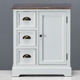 SIDEBOARD in Weiß/Kieferfarben 'Cookie' - Weiß/Kieferfarben, Holz/Metall (60/70/30cm) - Bessagi Home