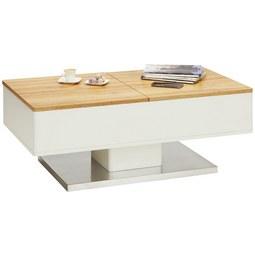 Couchtisch Weiß/Eiche - Edelstahlfarben/Eichefarben, MODERN, Holzwerkstoff/Metall (110/42-67/60cm) - Modern Living