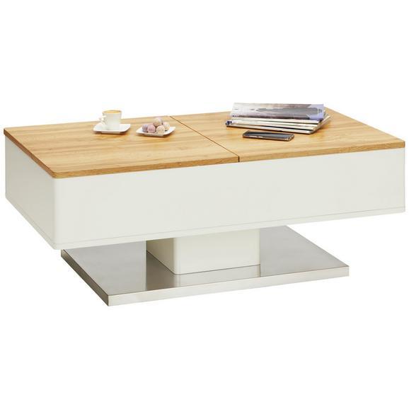 Klubska Miza Twice - bela/hrast, Moderno, kovina/leseni material (110/42-67/60cm) - Modern Living