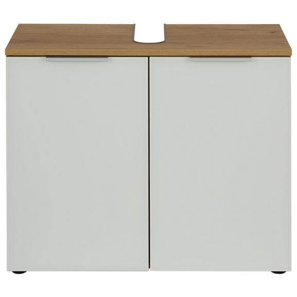 Waschbeckenunterschrank in Weiß/Eichefarben - Eichefarben/Alufarben, MODERN, Glas/Holzwerkstoff (70/58/34cm)