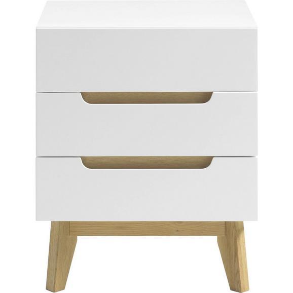 Nachtkästchen in Weiß - Weiß/Naturfarben, Holz/Holzwerkstoff (48/60/40cm) - Premium Living