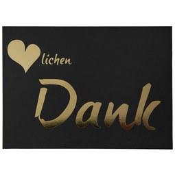 Postkarte Herzlichen Dank - Goldfarben/Schwarz, Papier (14,8/10,5cm)