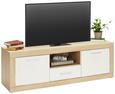 Lowboard Weiß/Eichefarben - Eichefarben/Alufarben, MODERN, Holzwerkstoff/Kunststoff (148/50/41cm)