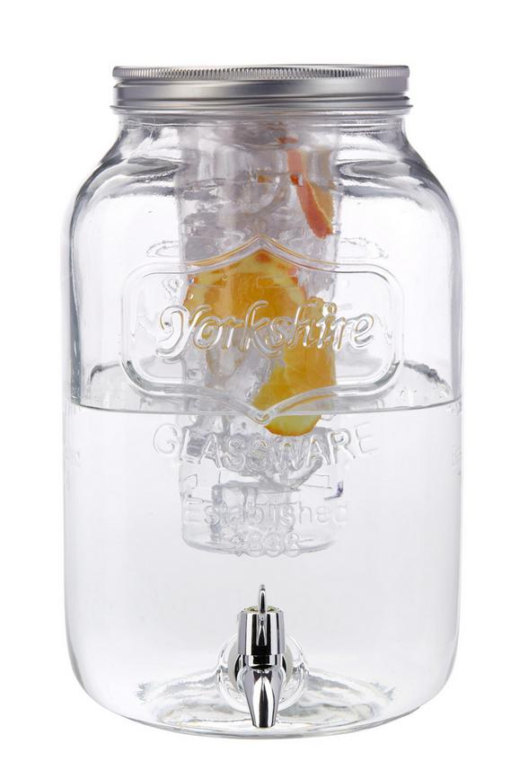 Getränkespender Marie mit Eiswürfelbehälter - Klar/Silberfarben, Glas/Kunststoff (25,5/19/32cm) - MÖMAX modern living