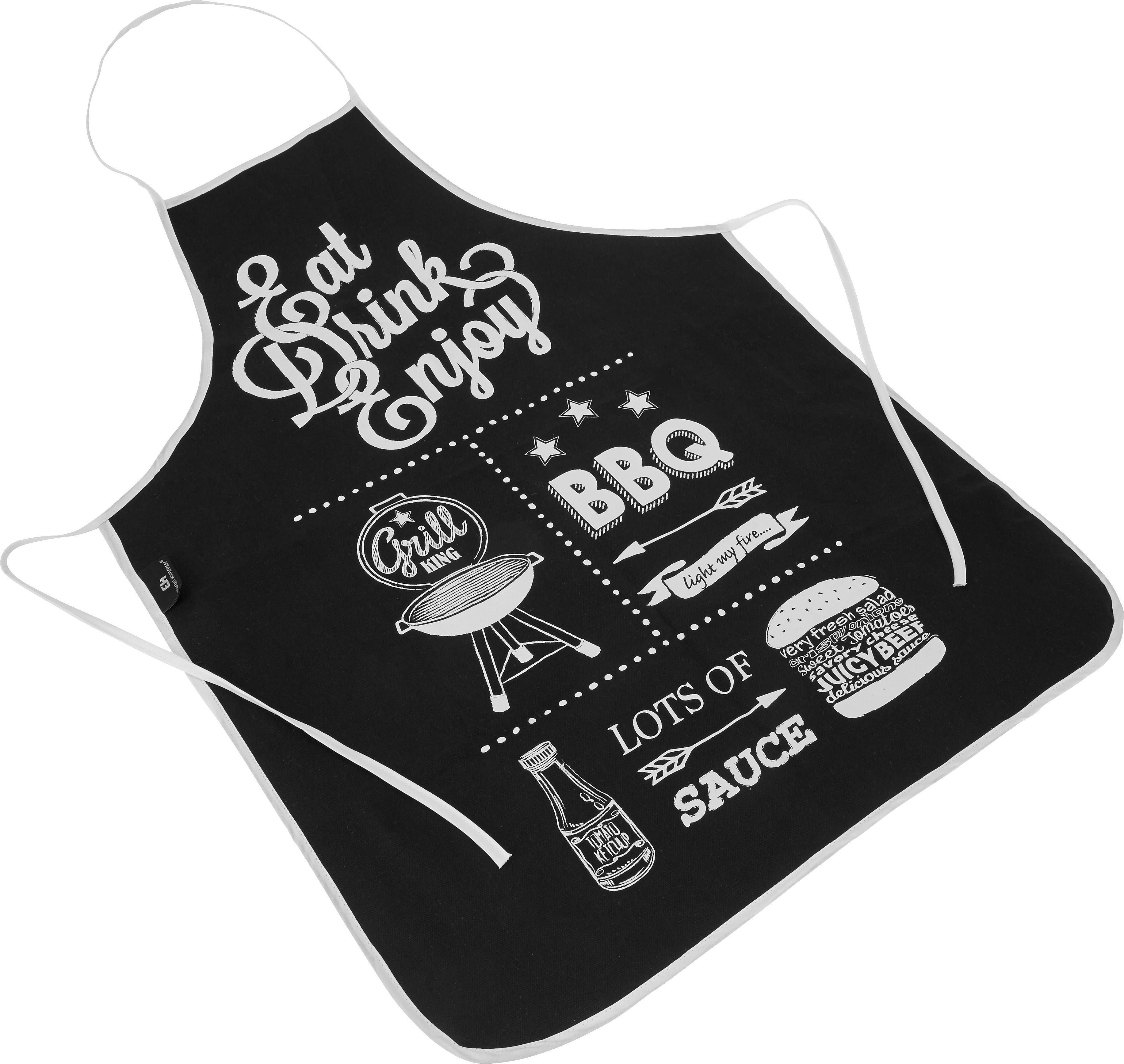 Schürze BBQ in Weiß/Schwarz - Schwarz/Weiß, Textil (60/84cm)
