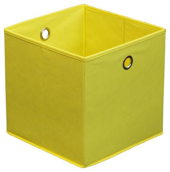 Összecsukható Doboz Cubi - sárga, modern, karton/textil (32/32/32cm)
