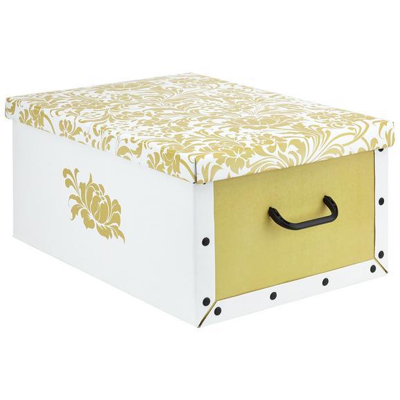 Box mit Deckel Foldy ca. 30l - Goldfarben/Weiß, Karton/Kunststoff (55/40/25cm)