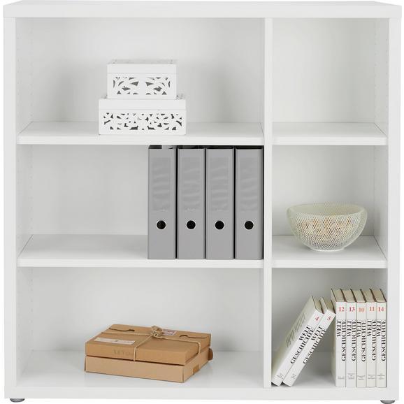 Regal in Weiß - Alufarben/Weiß, MODERN, Holzwerkstoff/Kunststoff (113/115/37cm) - Premium Living