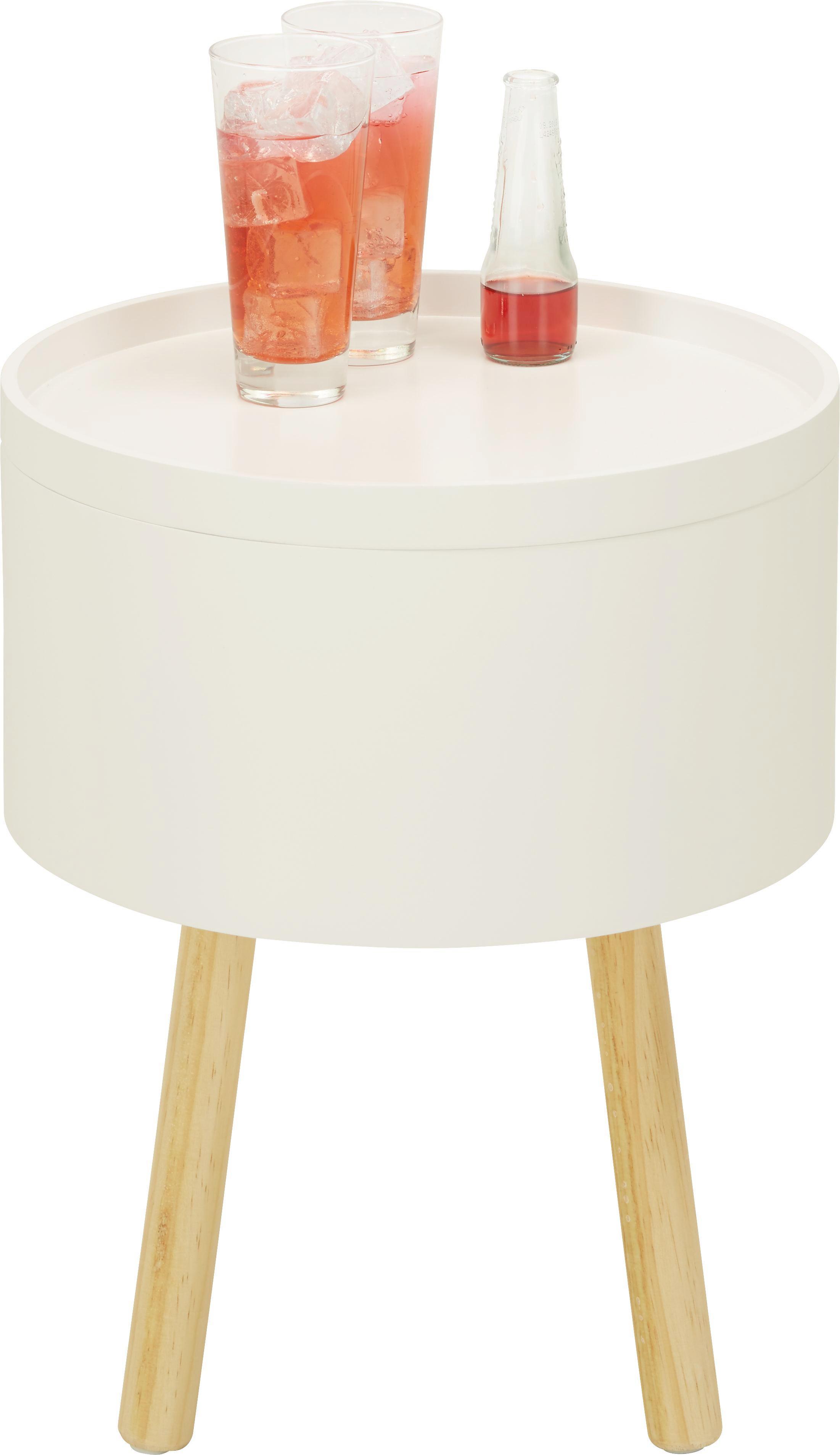 Beistelltisch in Weiß/Natur aus Holz - Braun/Weiß, MODERN, Holz/Holzwerkstoff (38/45/38cm) - MÖMAX modern living