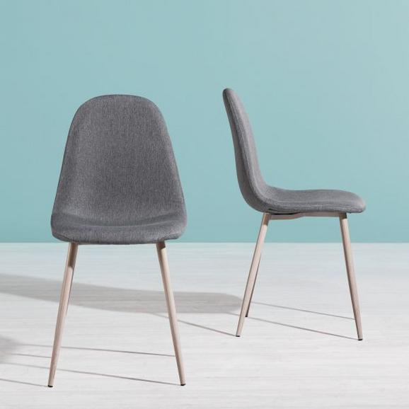 Stuhl Jessica - Dunkelgrau/Eichefarben, Textil/Metall (54/87/45cm) - MODERN LIVING