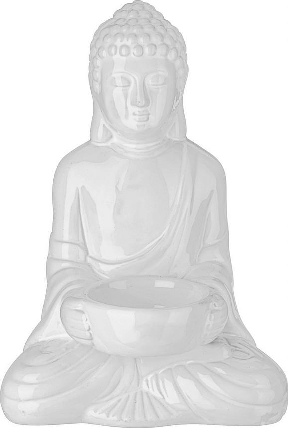 Teelichthalter Buddha aus Keramik in Weiß - Weiß, LIFESTYLE, Keramik (11,6/9/16,7cm) - Mömax modern living