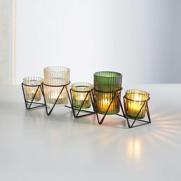 Teelichthalter Janin inkl. Gläser - Klar/Multicolor, MODERN, Glas/Metall (36/8/11,8cm) - MÖMAX modern living