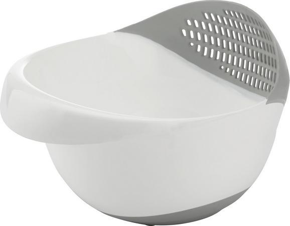 Schüssel Bella - Schüssel mit Ausguss - Weiß/Grau, Kunststoff (25/23/17,5cm) - MÖMAX modern living