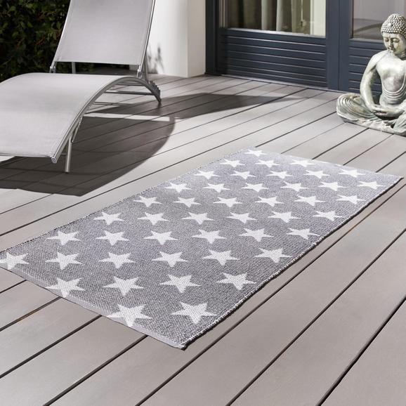 Teppich Outdoor Stars ca.70x140cm - Weiß/Grau, MODERN, Textil (70/140cm) - Bessagi Home