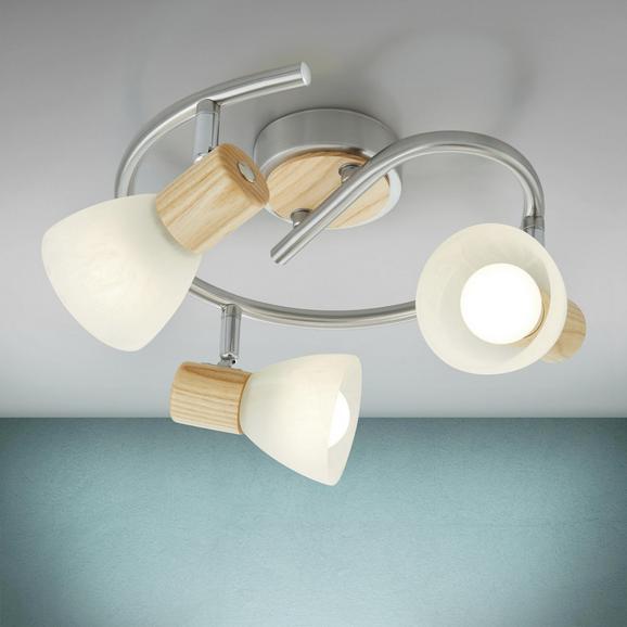 Deckenleuchte Dayana 3-flammig - Eichefarben/Nickelfarben, MODERN, Glas/Holz (25/15,5cm) - Modern Living