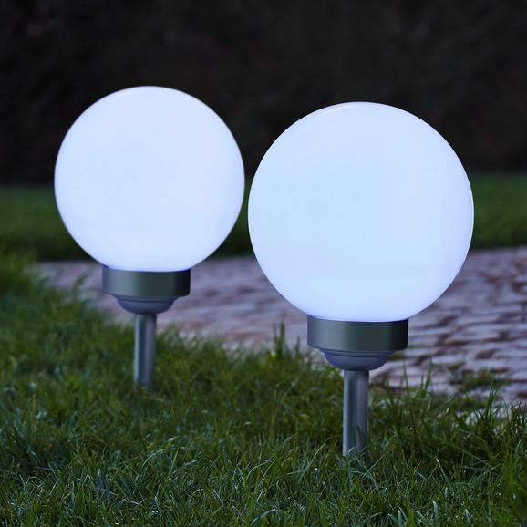 Gartenleuchte Led-solar Luke ca. Ø 20 cm - Silberfarben, MODERN, Kunststoff (20cm)