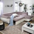 Wohnlandschaft in Grau/Weiß mit Bettfunktion - Weiß/Grau, KONVENTIONELL, Textil (262/224cm) - Modern Living