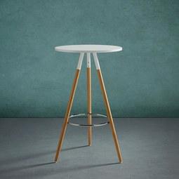 Tisch Frederica Ø Ca.60cm   Buchefarben/Weiß, MODERN, Holz/Metall