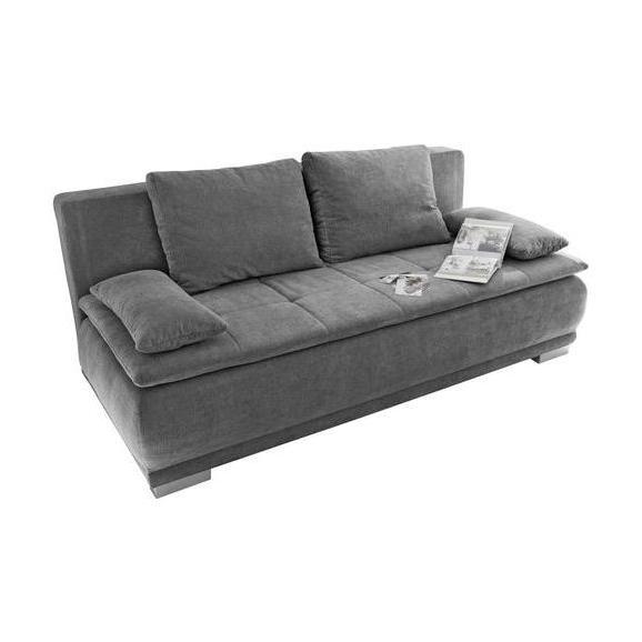Sofa mit Schlaffunktion in Dunkelgrau 'Luigi LUX.3DL' - Dunkelgrau/Silberfarben, MODERN, Holzwerkstoff/Kunststoff (208/93/105cm) - Livetastic
