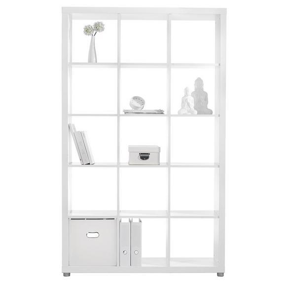 Raumteiler in Weiß mit 15 Fächer - Alufarben/Weiß, Holzwerkstoff/Kunststoff (117/193/35cm) - Mömax modern living