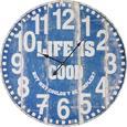 Uhr Good Life ca.Ø58cm - Blau/Weiß, MODERN, Holz/Papier (58cm) - Bessagi Home