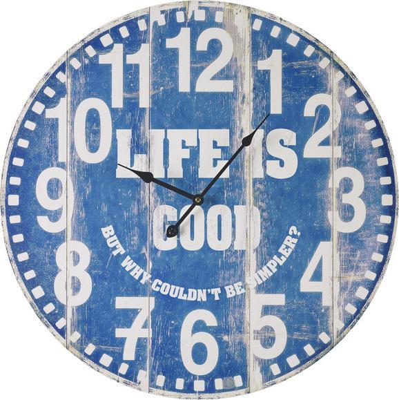 Uhr Good Life ca.ø58cm - Blau/Weiß, MODERN, Holz/Papier (58cm) - Mömax modern living