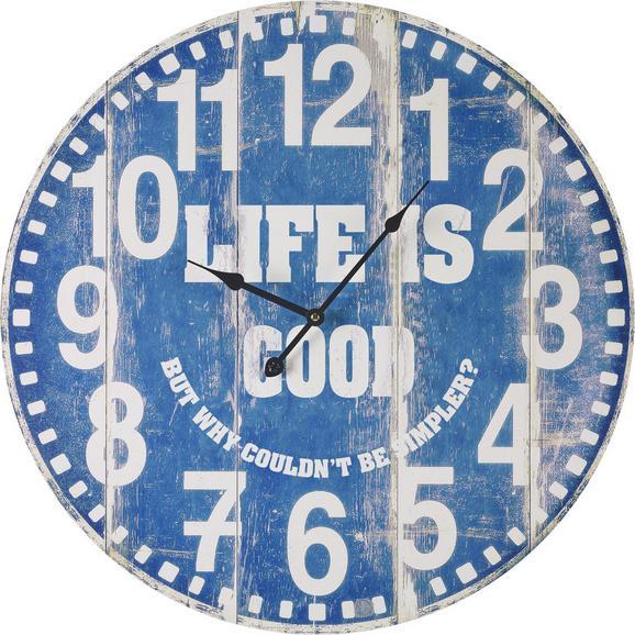Uhr Good Life in Blau/ Weiss ca.Ø58cm - Blau/Weiß, MODERN, Holz/Papier (58cm) - Bessagi Home
