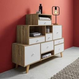 Sideboard Claire - Naturfarben/Weiß, MODERN, Holz/Holzwerkstoff (118/95/30cm) - Modern Living
