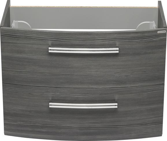 Waschbeckenunterschrank Mooreichefarben - Chromfarben/Mooreichefarben, MODERN, Holzwerkstoff/Metall (80/57,5/45,5cm) - PREMIUM LIVING