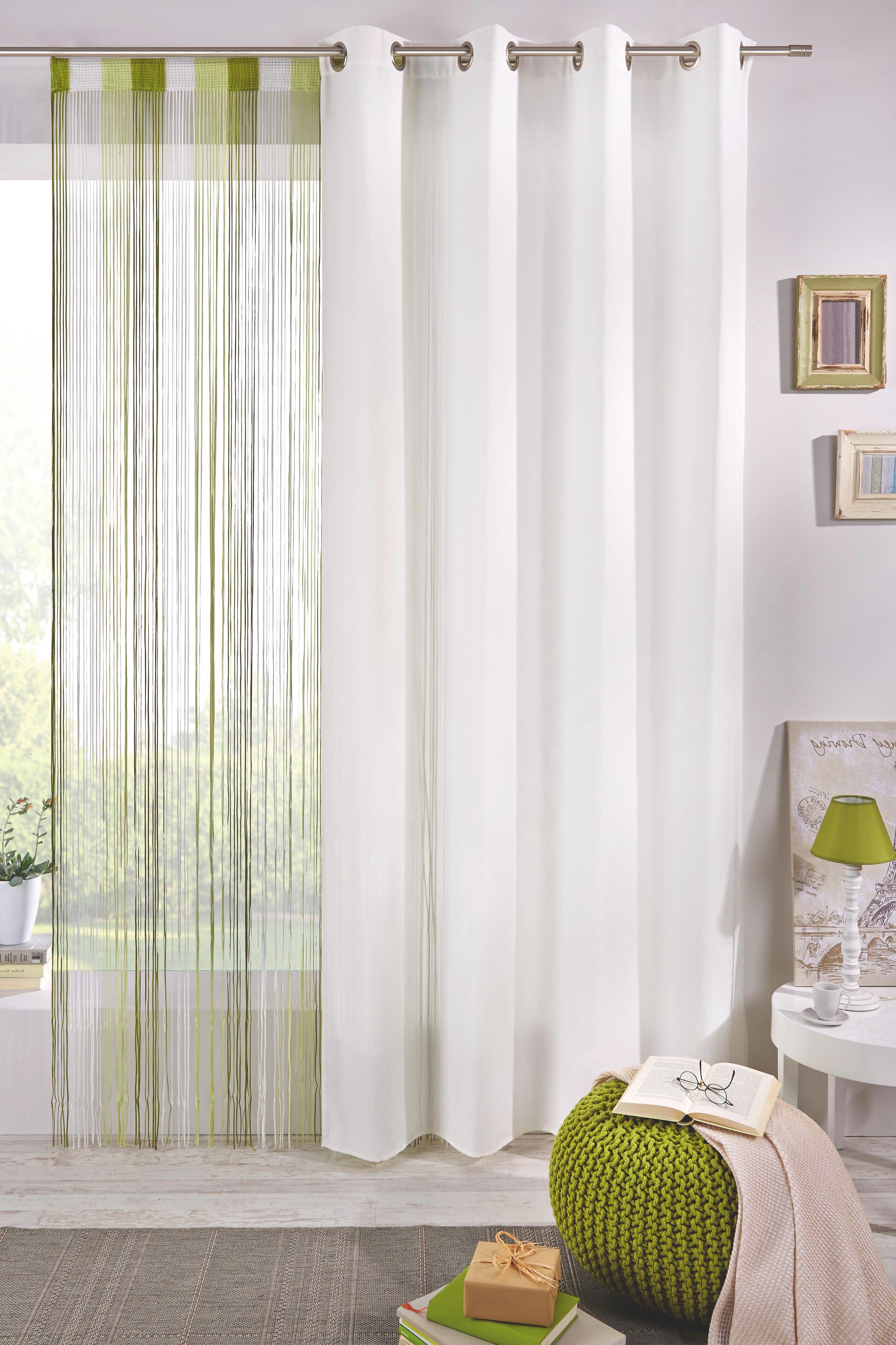 Zsinórfüggöny String - világoszöld/fehér, textil (90/245cm) - premium living