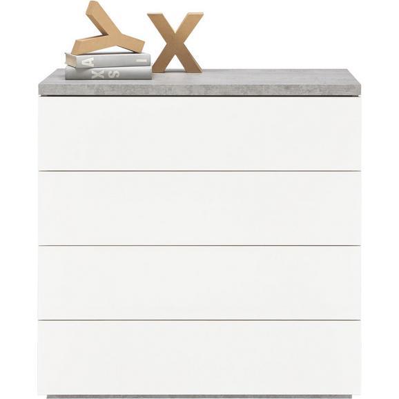 Kommode in Weiß Hochglanz/Grau - Weiß/Grau, Holzwerkstoff (85/88/44cm) - Modern Living