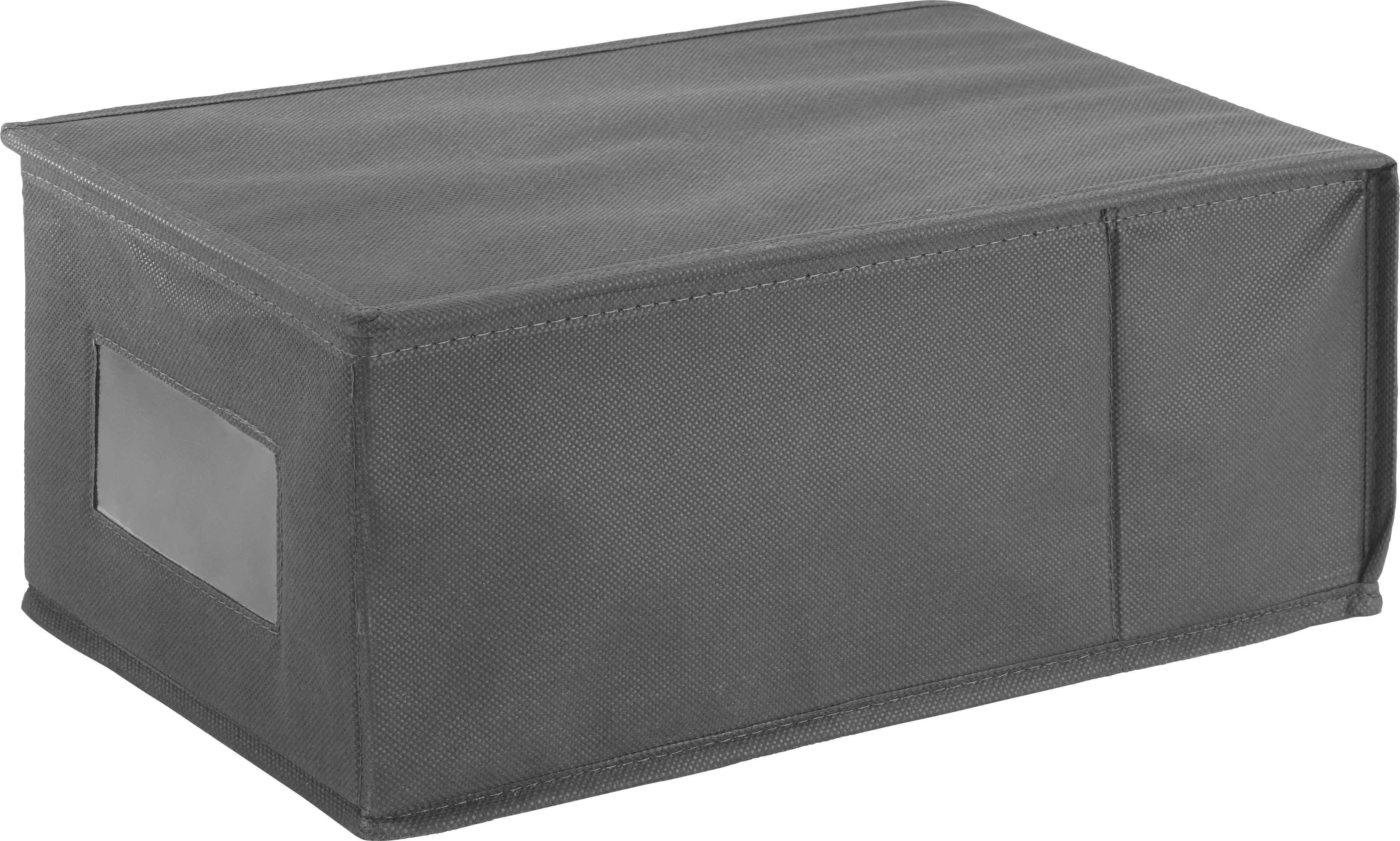 Aufbewahrungsbox in Anthrazit - Anthrazit, Karton/Textil (21,5/14,5/35,0cm) - CARRYHOME