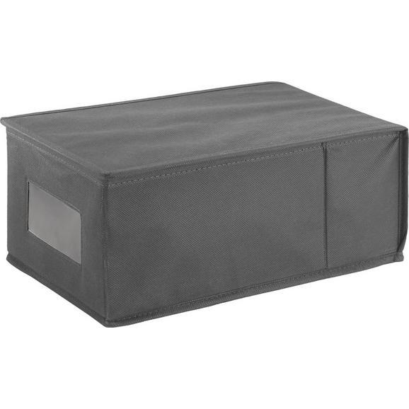 Aufbewahrungsbox in Anthrazit - Anthrazit, Karton/Textil (21,5/14,5/35,0cm)