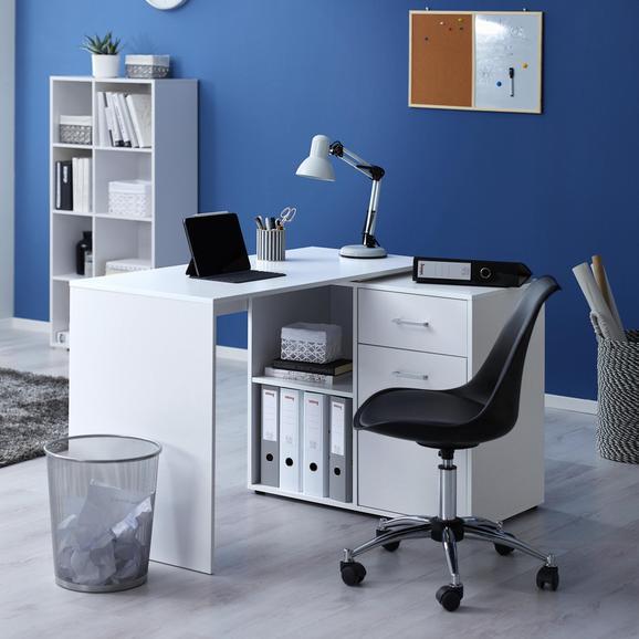 Schreibtisch in Weiß ca. 150/83/74 cm 'Basic' - Weiß, MODERN, Holz/Metall (117/150/51/83/74cm) - Bessagi Home