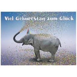 Postkarte Viel Geburtstag - Multicolor, Papier (14,8/10,5cm)