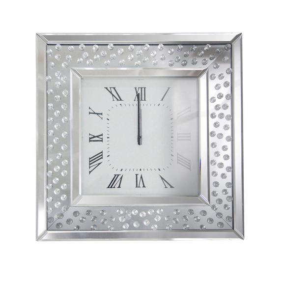Wanduhr Crystal, ca. 50,5x50,5x5,3cm - Silberfarben, MODERN, Glas/Holzwerkstoff (50,5/50,5/5,3cm) - Mömax modern living